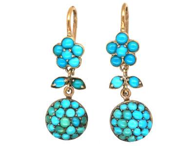 Edwardian 9ct Gold & Silver Turquoise Drop Flower Earrings