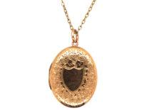 Edwardian 9ct Gold Oval Locket on Base Metal Chain