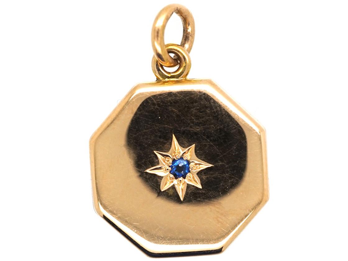 Art Deco 15ct Gold Octagonal Locket set with a Sapphire
