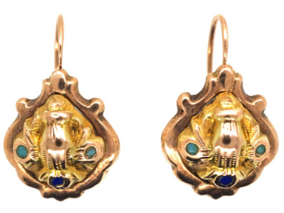 Georgian 15ct Gold Earrings With Hand Motif