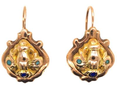 Georgian 15ct Gold Earrings With Hand Motif