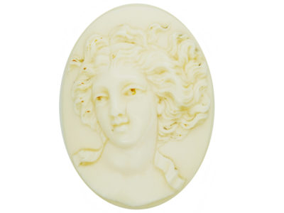 Victorian Carved Ivory cameo Brooch of a Lady