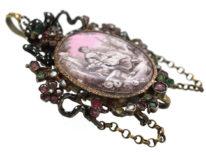 Austro-Hungarian Silver, Emerald, Pearl & Garnet Pendant with Enamelled Miniature