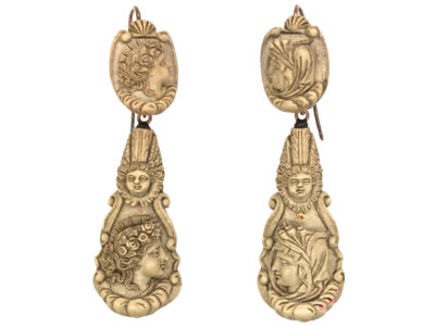 Early 19th Century Lava Cameo Night & Day Drop Earrings