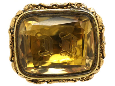 Large Late Georgian Seal with Citrine Base on Original Split Ring