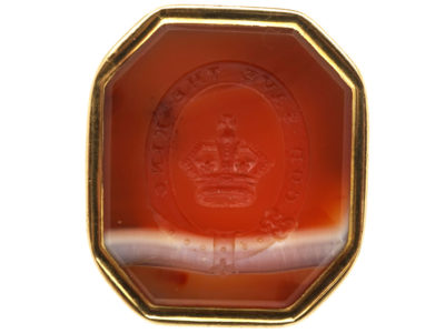 "Georgian Gold & Agate Seal with Crown & Garter Intaglio ""God Save The King"""