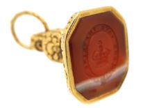 Georgian Gold & Agate Seal with Crown & Garter Intaglio