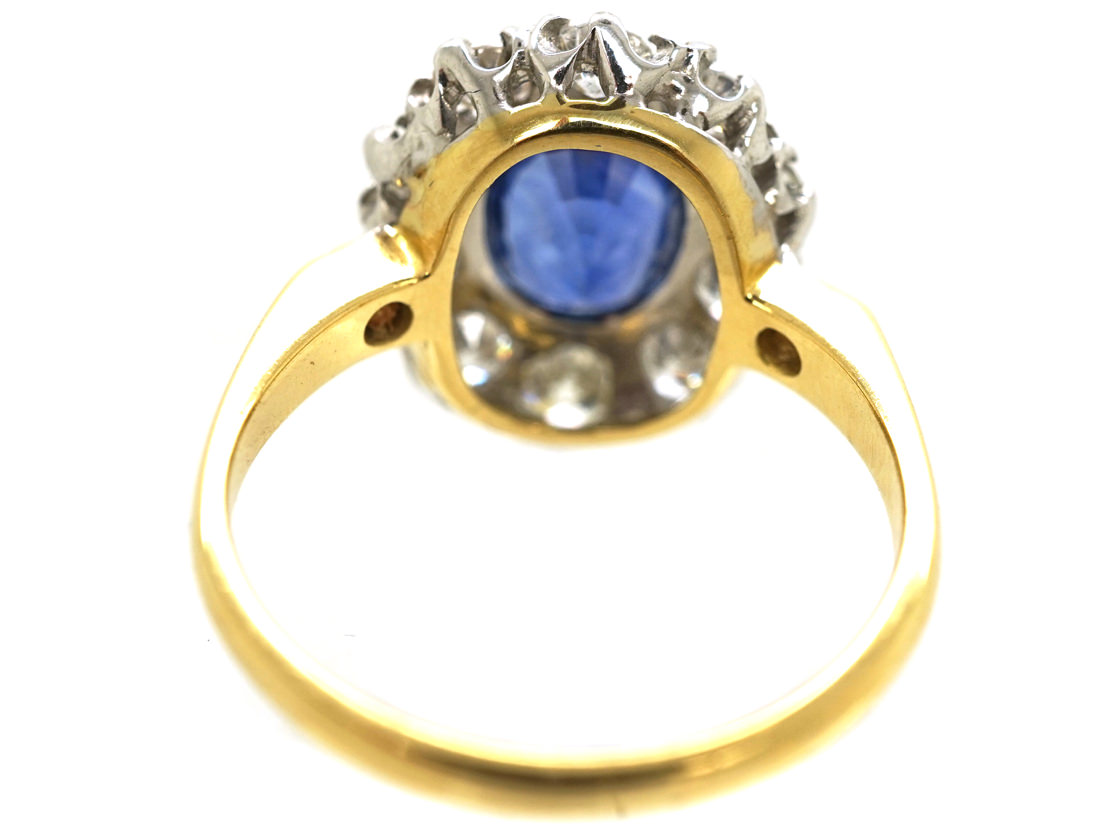 18ct Gold, Large Sapphire & Diamond Oval Cluster Ring