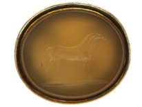 Victorian 15ct Gold Seal with Agate Intaglio of a Horse