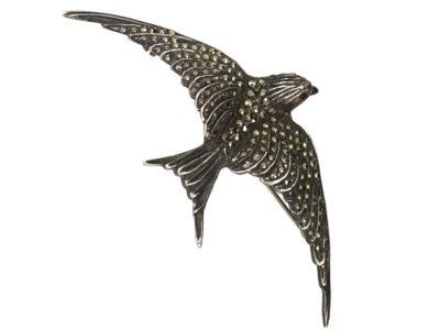 Silver & Marcasite Swallow Brooch
