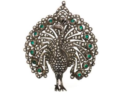 Silver, Marcasite & Paste Peacock Brooch