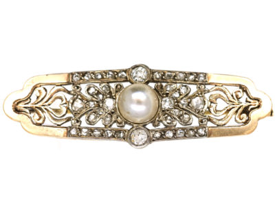 Austrian 15ct Gold, Rose Diamond & Natural Pearl Brooch