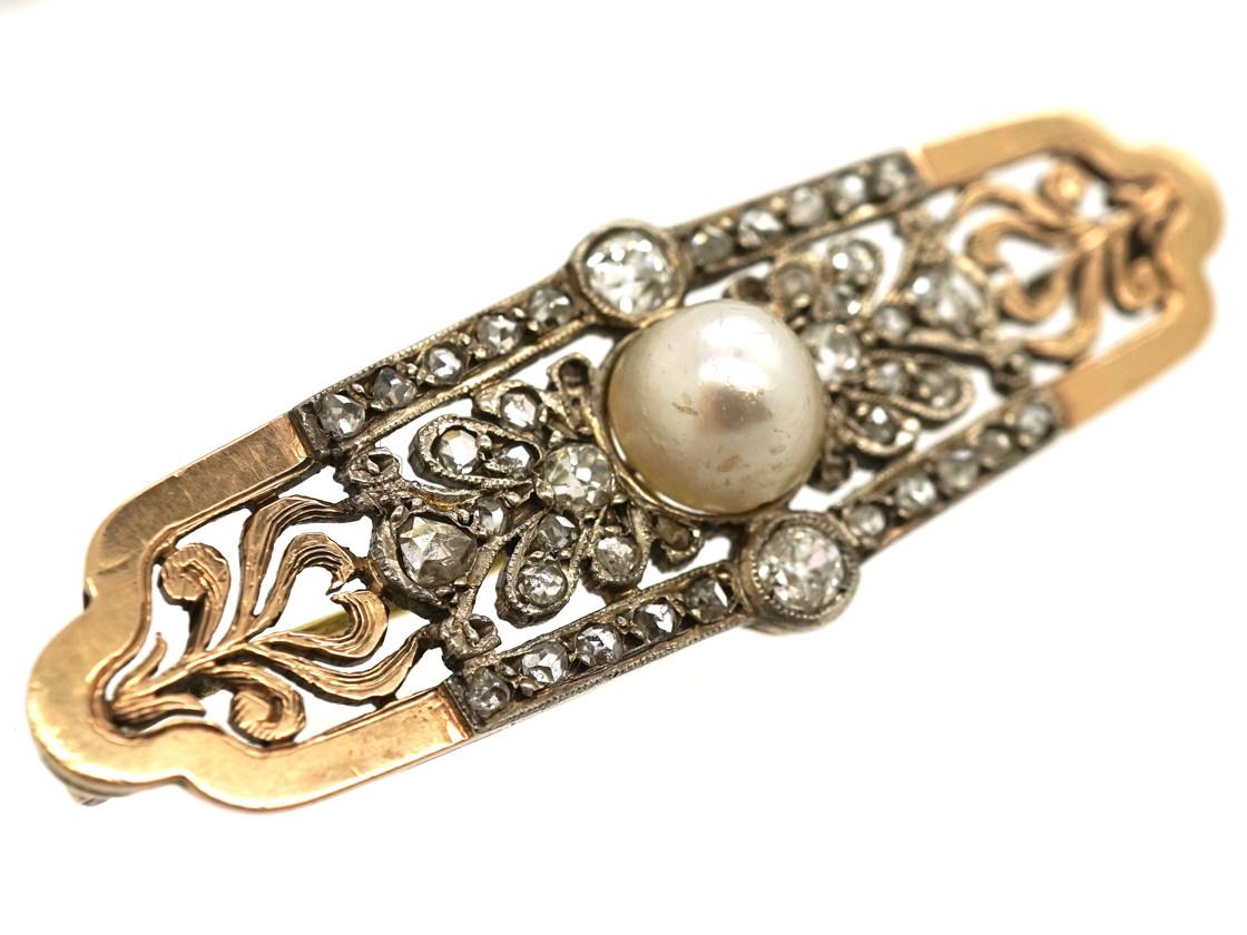Austrian 15ct Gold, Rose Diamond & Natural Pearl Brooch