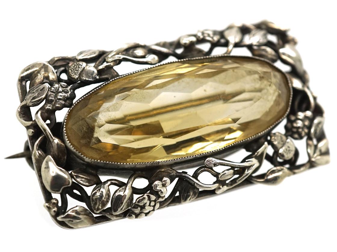 Arts & Crafts Silver & Citrine Brooch