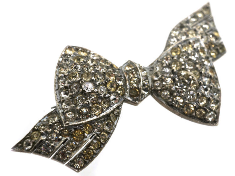 Silver & Paste Bow Brooch