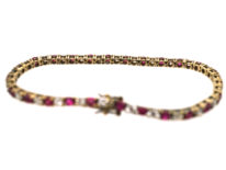 Silver & Gold, Red & White Paste Line Bracelet