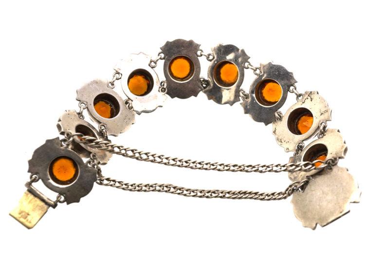 Victorian Scottish Silver & Grey Agate Bracelet
