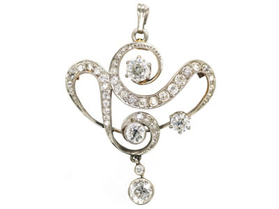 Art Nouveau Platinum & 15ct Gold Diamond Pendant