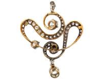 Art Nouveau Platinum & 15ct Gold Diamond Pendant