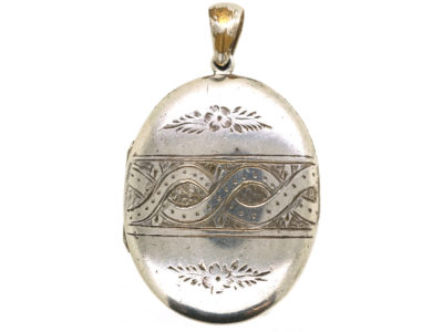 Victorian Oval Silver Locket With Entwined Ribbon Design