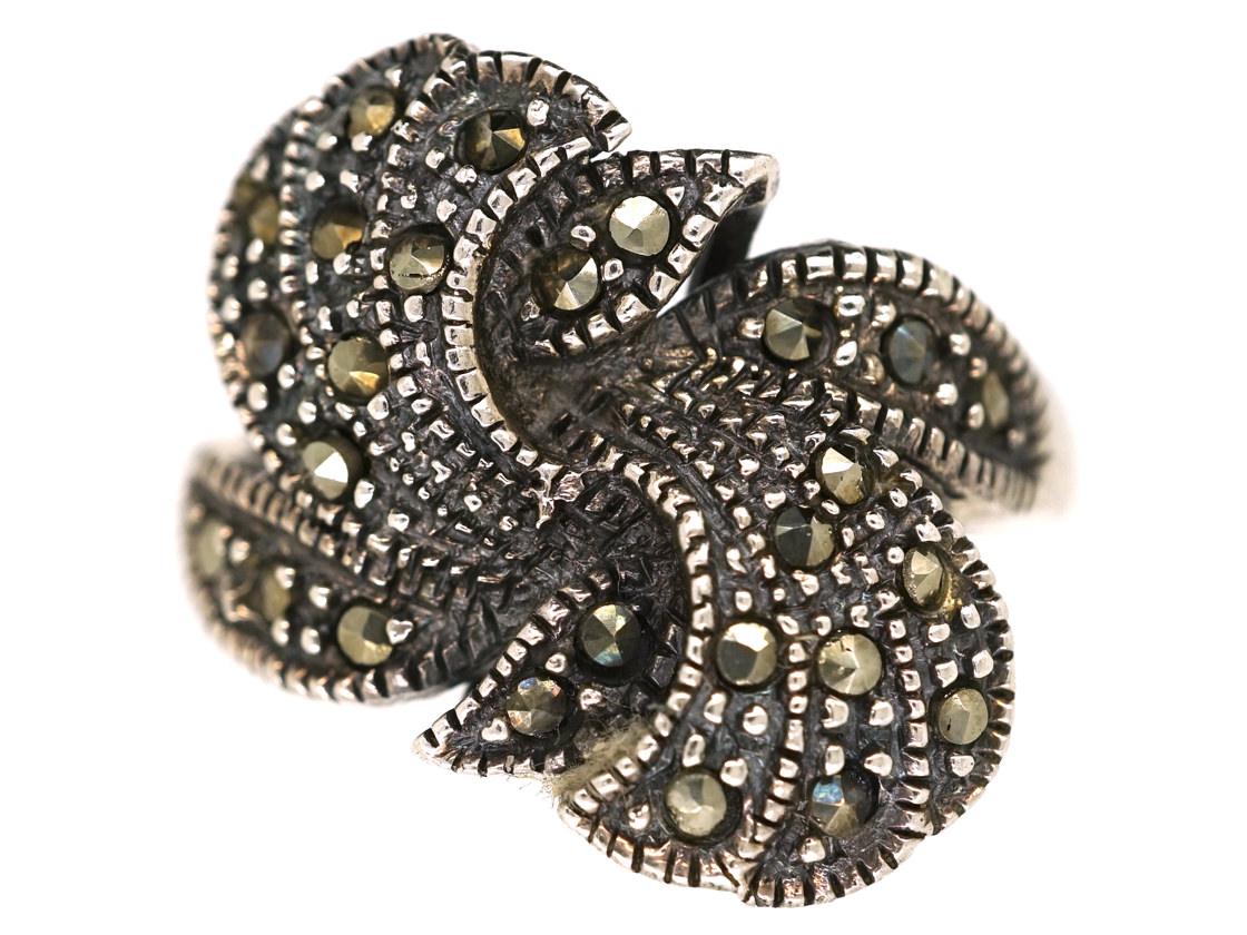 Silver & Marcasite Twist Ring