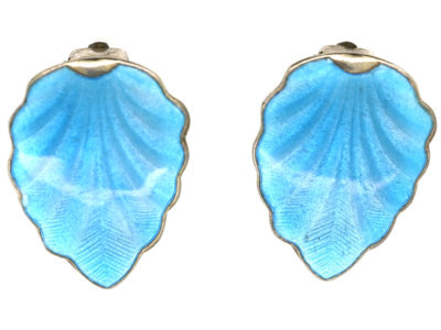 Silver & Blue Enamel Clip On Earrings