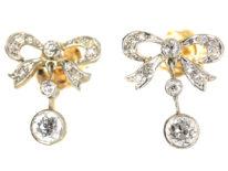 Edwardian 15ct Gold & Platinum Diamond Bow Drop Earrings