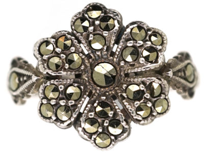 Silver & Marcasite Flower Ring