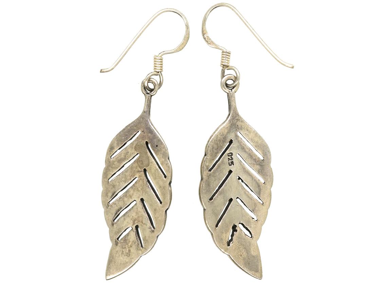 Silver & Marcasite Leaf Earrings