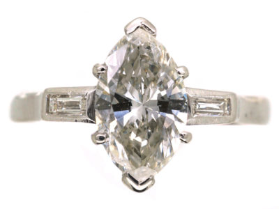 Platinum, Diamond Marquise Ring with Baguette Shoulders