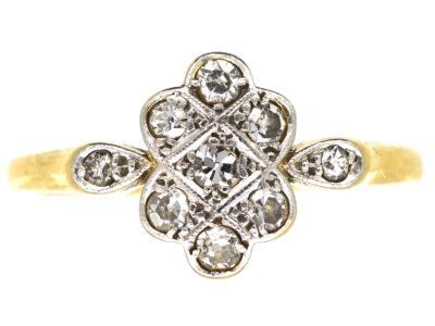 Art Deco 18ct Gold & Platinum, Diamond Cluster Ring With Diamond Set Shoulders