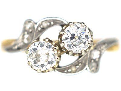 Edwardian 18ct Gold & Platinum Two Stone Diamond Crossover Ring