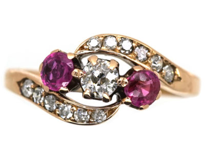 Edwardian Ruby & Diamond Crossover Ring