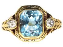 Edwardian 18ct Gold Aquamarine & Rose Diamond Ring With Greek Key Design Detail