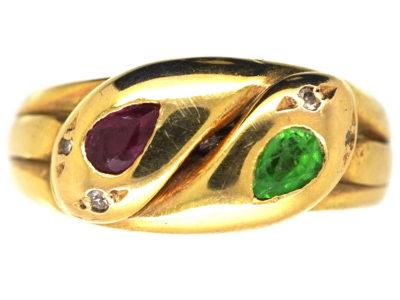 Edwardian 18ct Gold, Green Garnet, Ruby & Rose Diamond Double Snake Ring