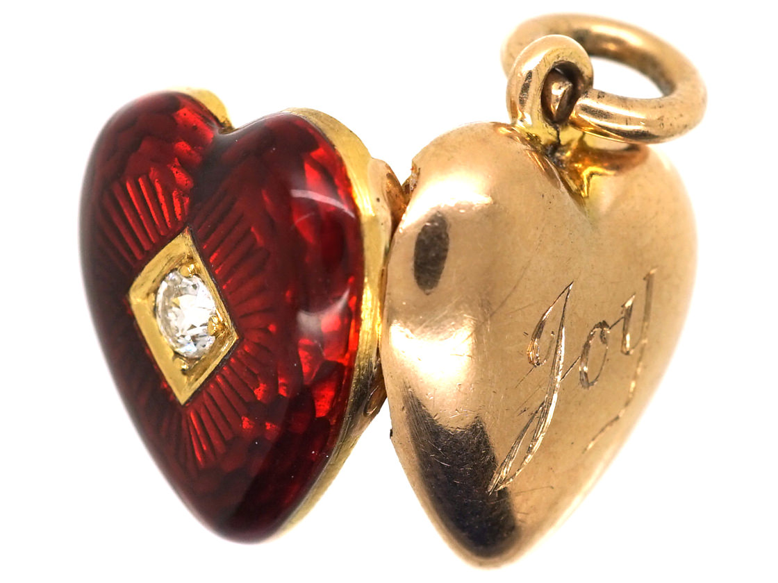 Edwardian 15ct Gold, Strawberry Red Enamel & Diamond Heart Locket