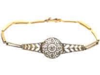 14ct Gold & Diamond Russian Bracelet