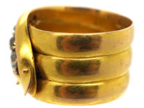Victorian 18ct Gold Snake Ring Set With Old Mine Cut Diamonds