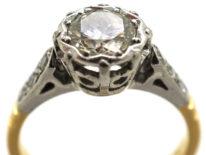 Art Deco Solitaire Diamond Ring With Diamond Set Shoulders