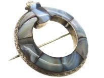 Victorian Scottish Silver & Grey Agate Garter Brooch