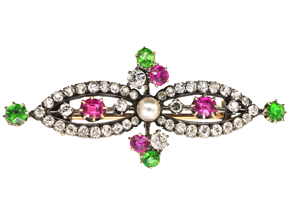 Edwardian 15ct Gold, Green Garnet, Ruby, Pearl & Diamond Suffragette Brooch