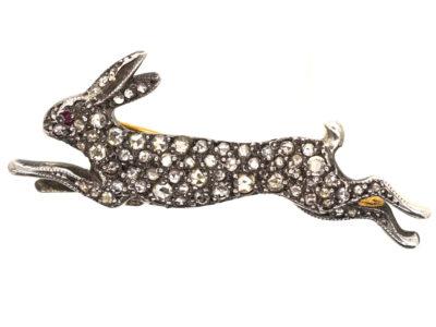 Diamond Set Running Hare Brooch