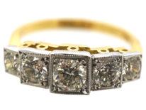 Art Deco Style 18ct Gold & Platinum Step Cut Design, Five Stone Diamond Ring
