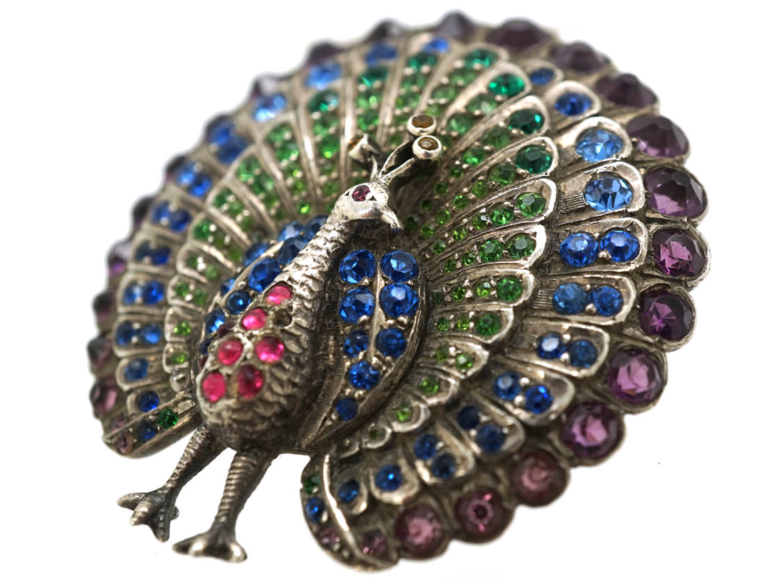 Edwardian Silver & Coloured Paste Peacock Brooch