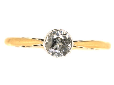 Edwardian 18ct Gold & Diamond Solitaire Ring
