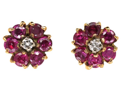 18ct Gold, Ruby & Diamond Cluster Earrings