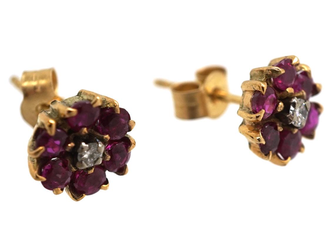 18ct Gold, Ruby & Diamond Cluster Earrings