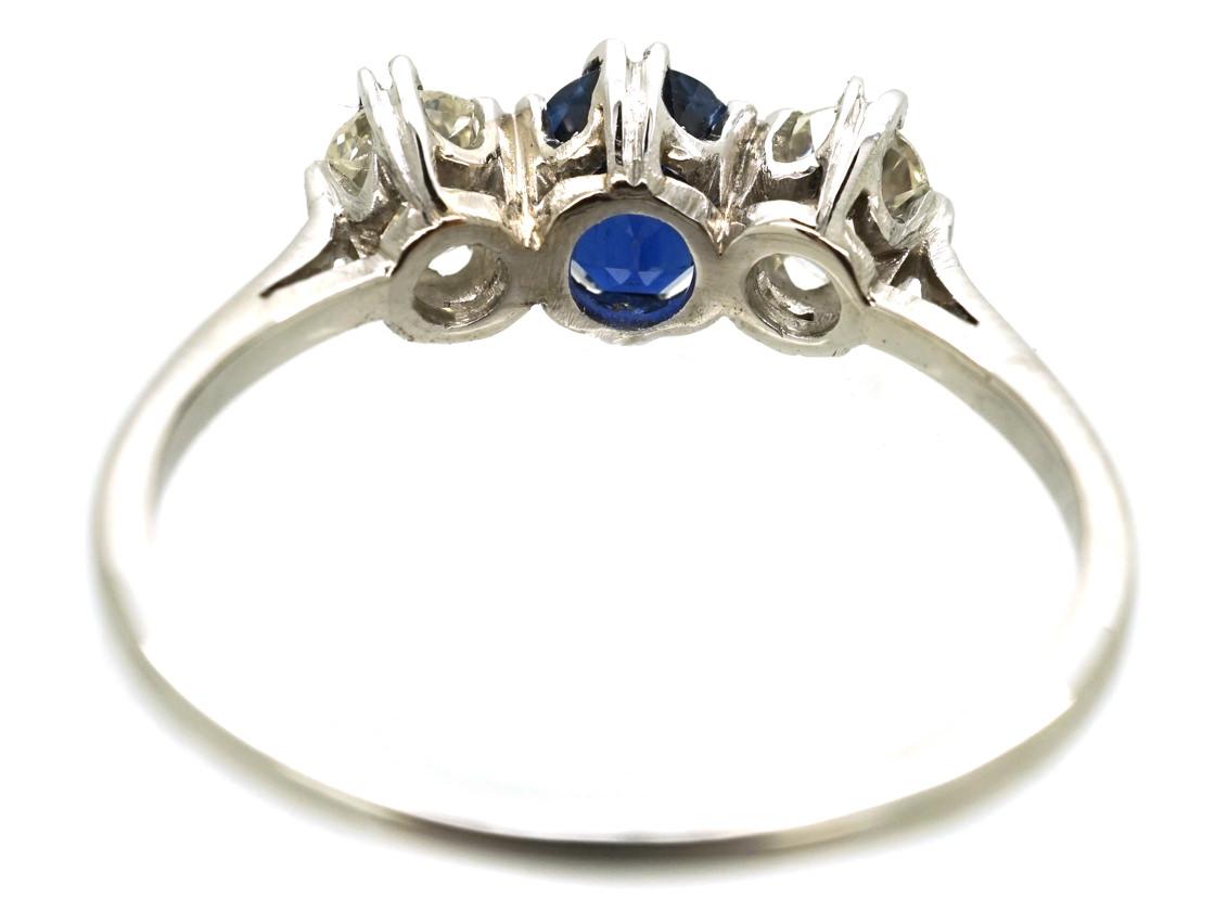 Art Deco 18ct White Gold, Diamond & Sapphire Three Stone Ring