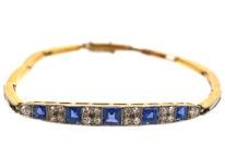 Art Deco 18ct Gold & Platinum, Sapphire & Diamond Bracelet