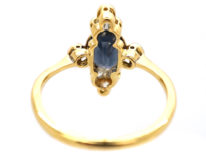 Art Deco 18ct Gold & Platinum, Diamond & Sapphire Ring